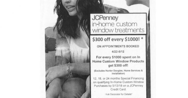 JCPenney in-home custom window treatments