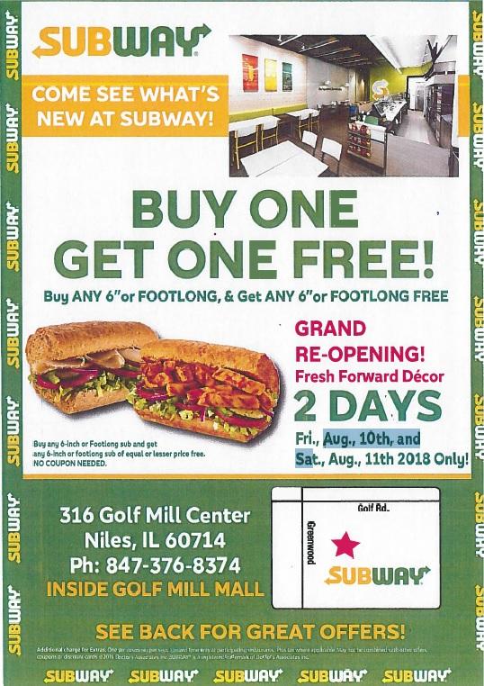Subway Grand Re-Opening BOGO Sale!