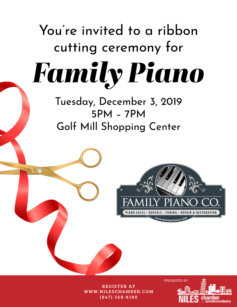 Family Piano Ribbon Cutting Ceremony